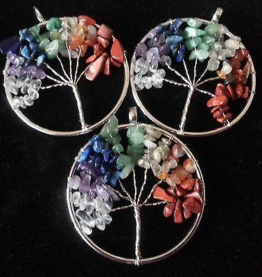 Wow - Bargain 3 Mixed Gemstone Tree Of Life Pendants - New In Stock