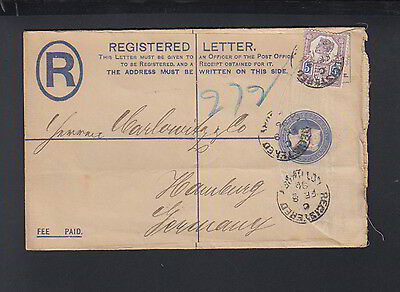 UK Registered Letter 1896 to Germany Perfin