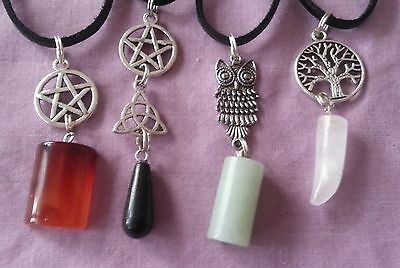 WOW - BULK LOT 4 X HANDCRAFTED GEMSTONE PENDANTS - on 50 cm Leather Straps