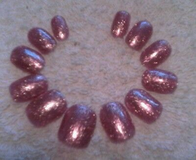 Hand painted Rose Pink platinum glitter press on nails Short Square