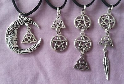 WOW - BULK LOT 4 X HANDCRAFTED SILVER PLATED PENDANTS - on 50 cm Leather Straps