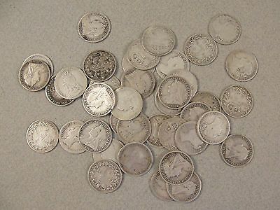 39 Victorian Silver THREEPENCE PIECES. c1870 - 1900