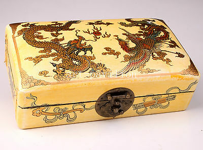 Yellow Leather Dragon Phoenix Ornament Royal Jewelry Box Wood Collectable