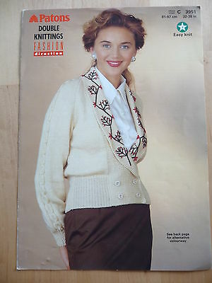 Knitting Pattern for womans double breasted, embroidered cardy