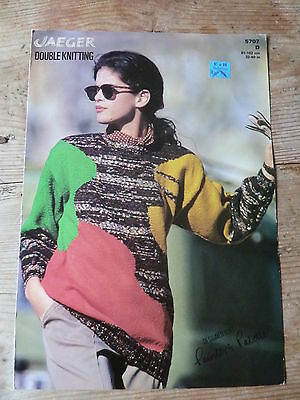 Knitting Pattern for Abstract Colour-Block Woman's Sweater in Double Knitting