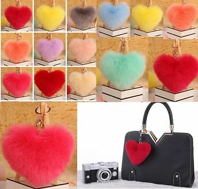 Heart Rex Rabbit Fur Ball PomPom Charm Key Ring Pendant Handbag Phone Keychain