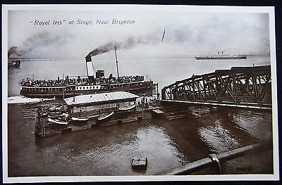 Old Real Photo Postcard - 'royal Iris' At Landing Stage, New Brighton, Cheshire