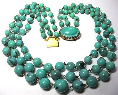 VINTAGE 1950's 3 Row Marbled Turquoise Green Early Plastic Bead Choker NECKLACE