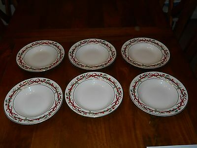 """Royal Worcester 9"""" Soup Dish Soup Plate - Holly Ribbons - Set of Six"""