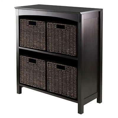Winsome Trading 92527 5pc Storage 3-Tier Shelf with 4 Small Baskets