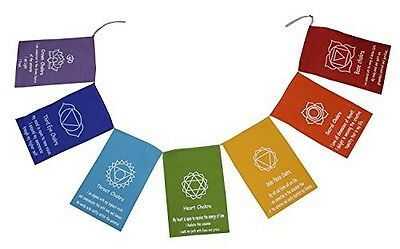 Dharmaobjects DharmaObjects Chakra Banner Seven Chakra Prayer Flag, Prayer Flag