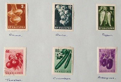 1958 Selection of 6 Mint-hinged Stamps from Bulgaria-'Fruit & Veg'  No BU-046.