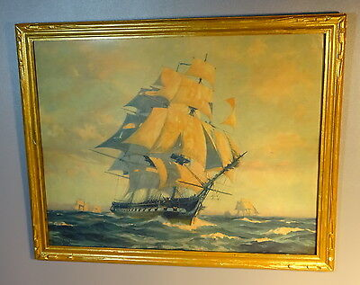 Gordon Grant Lithograph 1797 USS Ironsides Frigate Constitution 1927 Wood Frame