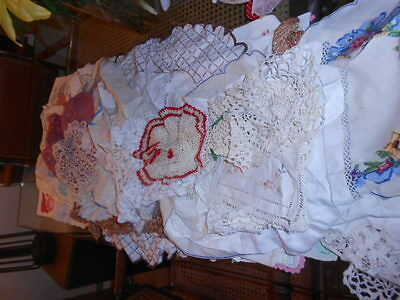 40+ Antique Mixed Lot DOILIES Table RUNNERS Doily Dresser SCARVES Linens