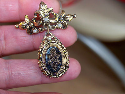 Vintage Jewellery French Jet & Seed Pearl Victorian Dropper Brooch Shawl Pin