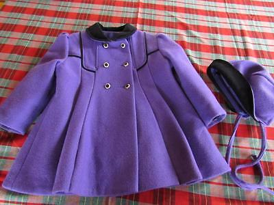 Vtg Victorian Inspired GIRLS Sz 3T PURPLE & Black Wool Blend Coat & Matching Hat
