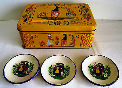 Vintage Quimper 3 Small Plates and Yellow Tin Box