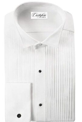"Neil Allyn Slim Fit 100% Cotton 1/4"" Pleated Wingtip Collar Tuxedo Shirt"