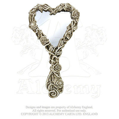 Fate of Narcissus Hand Mirror - Alchemy Gothic Heart Shaped Mirror Skull roses