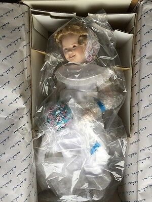 "DANBURY MINT Shirley Temple Porcelain Collector Doll Curly Top 17"" Box"
