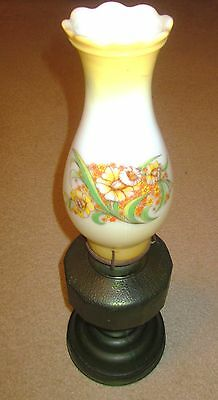 Beautiful Full Size Oil Lamp Gold and Green Vintage With Decorated Chimney