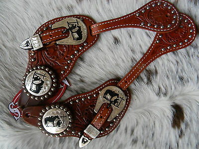 MENS Tooled Leather Western Spur Straps Praying Cowboy Engraved Hardware