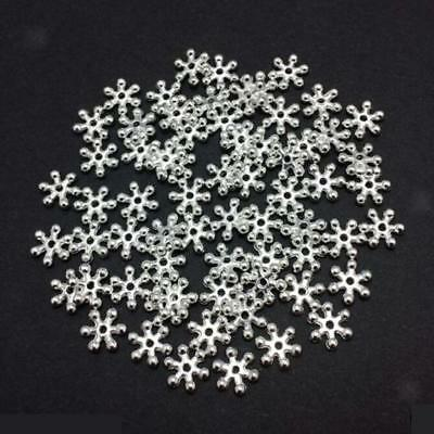 200PCS Bright Silver Plated Snowflake Flower Spacer Beads Jewellery Findings