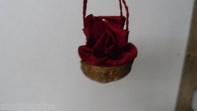 Old Dresden Christmas Ornament Candy Container - Walnut w Silk Bag