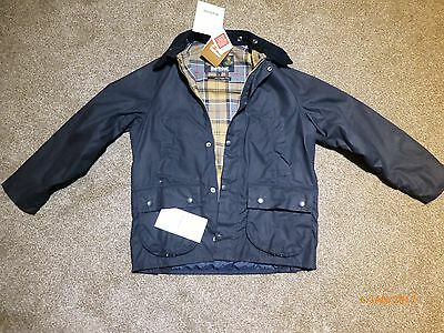 Kids Navy Barbour Wax Classic Bedale Jacket Size XL12 years Brand New with tags