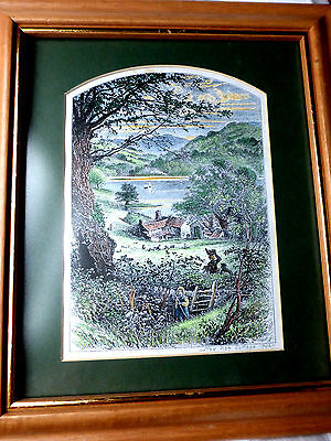Antique hand coloured print The Nab Cottage Ryedale Engraving W Boot