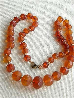 antique Victorian faceted AMBER necklace  ~ old amber handmade beads~