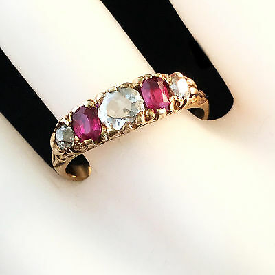 Exquisite Victorian 18ct, 18k, 750 Gold Ruby & Mine-cut Diamond carved hoop ring