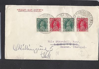 India KGVI stamps cancel First Day 23 August 1937 on plain cover to Sweden Wow!