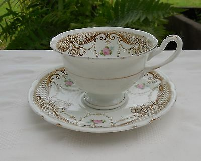 Antique Shelley Late Foley Pink Roses & Swags 8406 Cup & Saucer