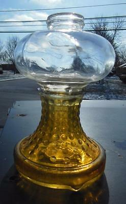 Vintage Hobnail Art Deco Amber Yellow Clear Glass Oil Lamp Base J2090