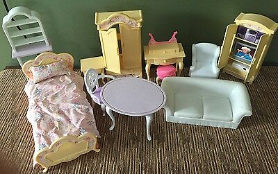 Barbie 1996 Folding Pretty House Furniture Lot Bedroom, Dining & Living Room