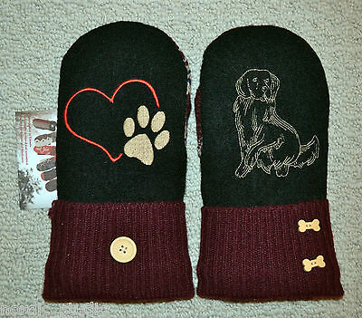 Golden Retriever Dog Embroidered Wool Mittens,Handmade, recycled wool sweater