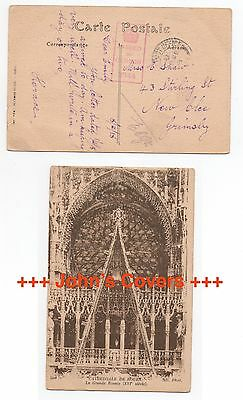 1918 FRANCE WW1 Censor Cover Field Post Office To NEW CLEE GRIMSBY GB Postcard