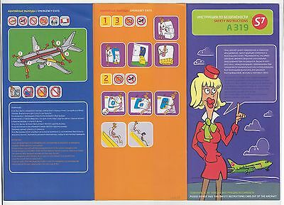 S7 Airlines Airbus A319 Airplane Safety Card Instruction #2