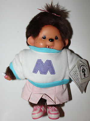 """Monchhichi Doll With Tags Letter M Sweater Removable Shoes 8"""" Tall Japan"""