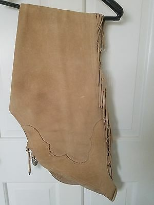 WESTERN FRINGE SHOW CHAPS, Tan, Medium, Suede/Leather, Good Condition!
