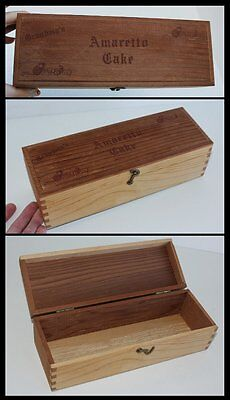 Vintage Dovetail Jointed Hinged Lid Grandma's Amaretto Cake Wood Box Swing Latch