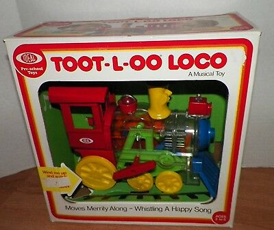 1976 Ideal TRAIN Whistling Walking Wind Up TOOT-L-OO LOCO toy in box