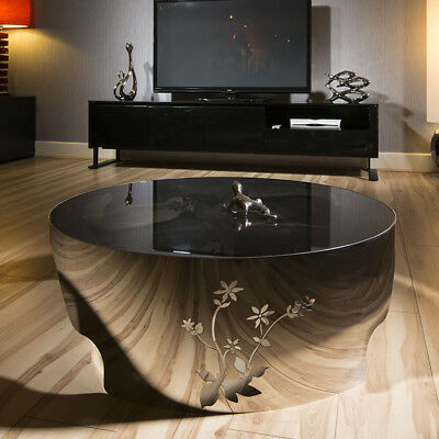 Modern Designer Large Round Coffee Table Glass Top Stainless Steel 119