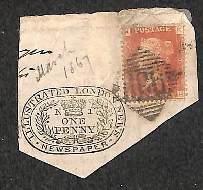 Great Britain Scott #33 Stamp Illustrated London News One Penny Cancel 1867