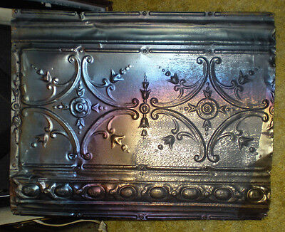 Antique Iridescent Victorian Ceiling Tin Tile Pie Cupboard Cabinet Doors Chic