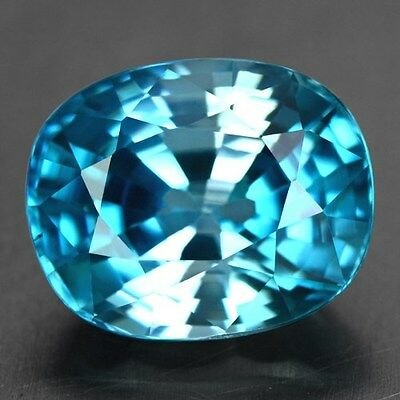 BLUE ZIRCON - 6.44 CT., 11 x 9 x 6.5 mm 100% Natural CAMBODIAN, Very Good-Luster