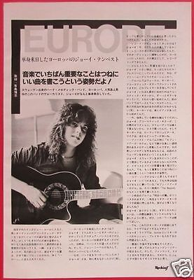 Joey Tempest Interview In Japan Europe 1984 Clipping Japan Magazine Rf 5A