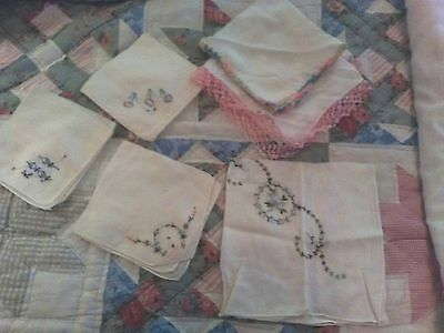 Lot of Ladies Handkerchiefs 2 with crocheted edges. Estate