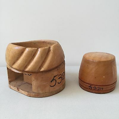 2 Vintage Wood Hat Blocks Millinery Plunger Brim Mold And Oval Flat Top Crown